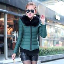 AiSun - Padded Jacket with Detachable Faux Fur Collar