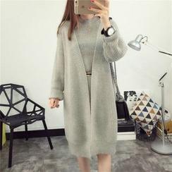 YAMI - 套裝: 純色針織背心裙 + 長款開胸外套