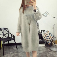 YAMI - Set: Plain Knit Tank Dress + Long Cardigan