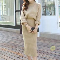 Eva Fashion - Set: Knit Top + Midi Skirt