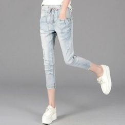 Cottony - Cropped Drawstring Jeans