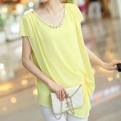 Romantica - Short-Sleeve Asymmetric-Hem Chiffon Top
