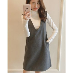 Dowisi - Set: Turtleneck Long-Sleeve Knit Top + V-Neck Pinafore Dress