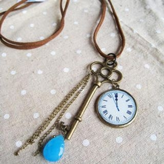 MyLittleThing - Vintage Key & Clock Leather Long Necklace(White)