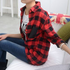 59 Seconds - Faux-Leather Pocket Gingham Shirt