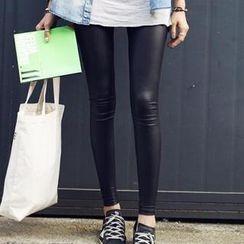 Rita Zita - Fleece-lined Faux Leather Leggings
