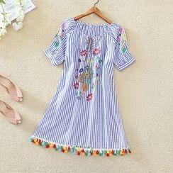 Clementine - Tasseled Hem Embroidered Striped Short-Sleeve A-Line Dress