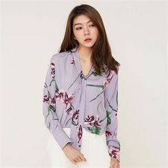 MAGJAY - Tie-Neck Floral-Pattern Blouse