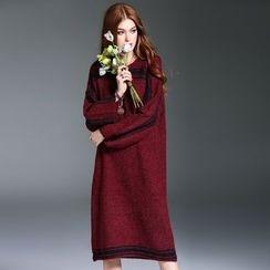 洛图 - 长袖配色条纹连衣裙