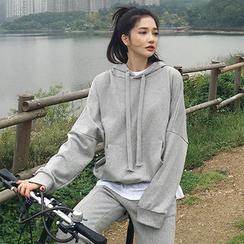 chuu - Set: Hooded Cotton Pullover + Fray-Hem Sweatpants
