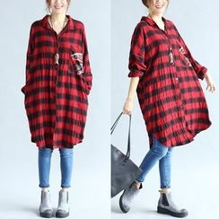 Epoch - Gingham Long-Sleeve Long Blouse