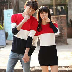 Lovebirds - Couple Color-Block Knit Top / Knit Dress