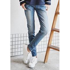 GOROKE - Band-Waist Washed Tapered Jeans