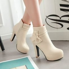 Pastel Pairs - Bow Accent High Heel Ankle Boots