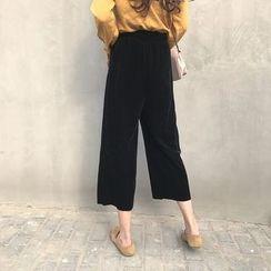 气质淑女 - 丝绒宽腿裤