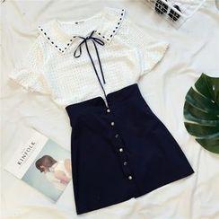 Honeydew - Set: Short-Sleeve Collared Top + Buttoned A-line Skirt