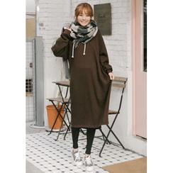 GOROKE - Hooded Brushed-Fleece Lined Midi Pullover Dress