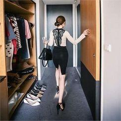 QNIGIRLS - Laced Suspenders Skirt