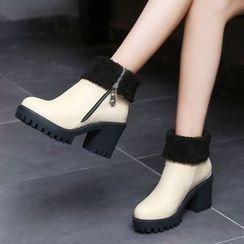 Pastel Pairs - Block Heel Fleece-lined Short Boots