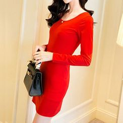 Only Eve - Long-Sleeve Plain Dress