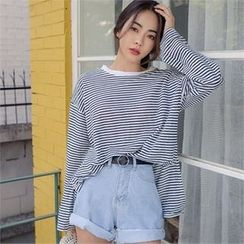 ERANZI - Long-Sleeve Striped Loose-Fit T-Shirt