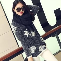 anzoveve - Printed Furry Knit Sweater