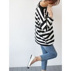 STYLEBYYAM - Stripe Drop-Shoulder Knit Top