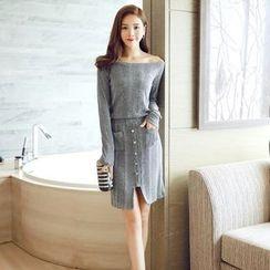 Lovi - Set: Off-Shoulder Sweater + Buttoned Knit Skirt