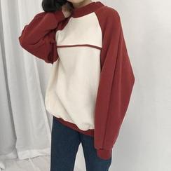 Moon City - Two-Tone Mock Neck Sweatshirt