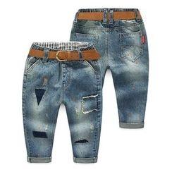 Seashells Kids - Kids Paint Splatter Print Washed Jeans
