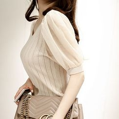 Marlangrouge - V-Neck Puff-Sleeve Knit Top
