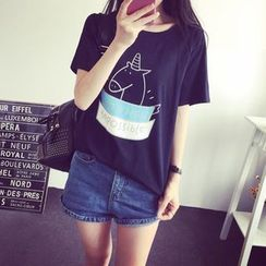 XGZ - Cartoon Print Short-Sleeve T-Shirt