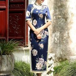 Miss Four Qipao - Short-Sleeve Floral Cheongsam