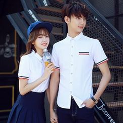 Azure - Couple Matching Stripe Short-Sleeve Shirt