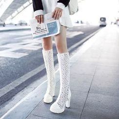 Pretty in Boots - Chunky Heel Lace Inset Tall Boots