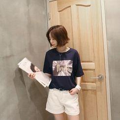 NANING9 - Cotton Graphic T-Shirt