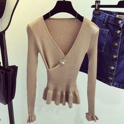 Bloombloom - Ripped Knit V-Neck Long Sleeve Top