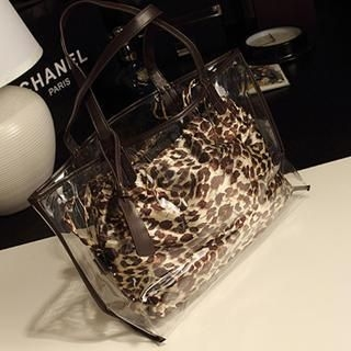 Miss Sweety - Clear Tote with Leopard Pouch