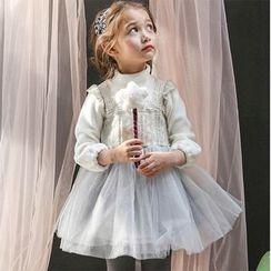 Cuckoo - Kids Mock Neck Long-Sleeve Tulle Dress