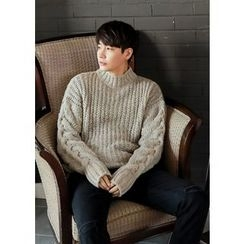 GERIO - Mock-Neck Cable-Knit Sweater