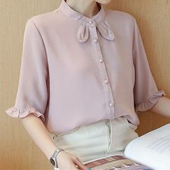 Queen Bee - Elbow Sleeve Chiffon Shirt