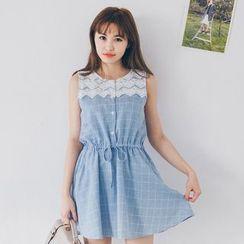 Tokyo Fashion - Lace Panel Check Sleeveless Dress