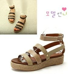 MODELSIS - Genuine Leather Gladiator Espadrille Sandals