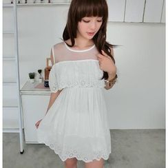 59 Seconds - Mesh Yoke Sleeveless Eyelet Lace Dress