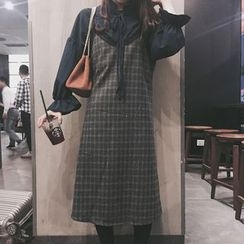 Rollis - Plaid Spaghetti-Strap Midi Dress