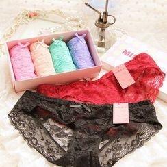 Cutesy Dream - Set of 4: Lace Panties