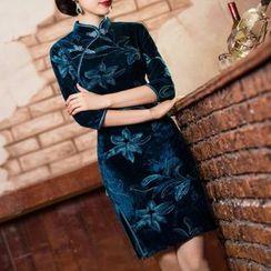Maura Qipao - 碎花絲絨旗袍