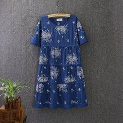 Blue Rose - Flower Embroidered Short Sleeve Tiered Dress