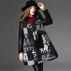 Y:Q - Lettering Hooded Long Woolen Coat