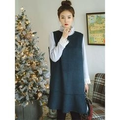 LOLOten - Sleeveless Patterned Ruffle-Hem Wool Blend Dress